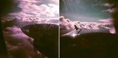 to from (.grux.) Tags: holga120n film lomochromepurple xr100400 mediumformat 120 6x6 plasticfantastic zonefocus airplane beechcraft1900d propeller clouds wing engine sky flying diptych alberta