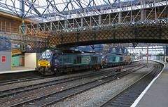 Roof revamp (DieselDude321) Tags: 68034 68004 class 68 6m23 1217 hunterston ll sellafield bnf platform 3 carlisle station cumbria citadel nuclear flask