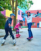 Skyline Skaters 10 (C & R Driver-Burgess) Tags: middleschool juniorhigh kids children boys girls young teen preteen ripstick inline skates skateboard pink blue shorts tights jacket tshirt concrete yard playground trees playing practice people