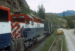 Southbound Just South of Lillooet, BC on BC Rail on May 28, 1992