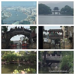 Bridges in China... (TL) Shanghai; (TR) Hangzhou; (mid photos) Two bridges along Grand Canal Suzhou; (BL) Hangzhou and (BR) Beijing Zoo photo©jadoretotravel (J'Adoretotravel) Tags: bridges chineseadventures mychina jadoretotravel china  marcopolo grandcanal huangpuriver lingeringgardens westlake suzhou hangzhou shanghai beijing