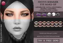 Festive Shimmer Eye Make-Up (@ Tannenbaum) (Izzie Button (Izzie's)) Tags: tannenbaum izzies sl applier makeup shimmer glitter festive winter christmas laq logo omega catwa lelutka