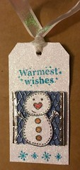 Snowman twinchie tag (CraftyBev) Tags: glitter christmas stamping snowman gifttag twinchie
