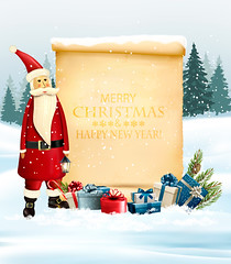 Holiday Christmas background with Santa Claus and a gift boxes and old paper. Vector (everythingisfivedollar) Tags: tree greeting red new concept vector holiday star template pile celebration xmas light christmas card glow bow gift ice label snowflake box season illustration sale sack frame texture design color winter colorful merry december congratulation banner art background snow party nature happy present year ribbon giftbox santa claus oldpaper