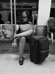 24630485388_da96ffa6cb_o.jpg (Sav's Photo Gallery) Tags: street photography tube passenger monochrome bags sleep sleeper