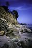 Beachside Cliffs (woodchuckiam) Tags: beachsidecliffs beachside cliffs santabarbaracalifornia ocean beach rocks trees dog sky clouds sceniclandscape kodachrome woodchuckiam