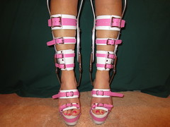 Front View Of Brace Sandals and Lower Leg Strapping (KAFOmaker) Tags: brace braces braced bracing bondage bound bind fetish leather buckle buckles buckled buckling strap straps strapped strapping orthopedic orthopedics shoe shoes sandal sandals heel heels heeled foot feet leg legs restrain restrained restraints immobilize immobile lock locks locked locking