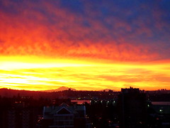 A stunning start to the day: A sunrise series (4+) (peggyhr) Tags: peggyhr sunrise harbour urban clouds sky orange yellow blue mtbaker lights silhouettes dsc0655a vancouver bc canada