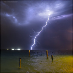 Skeleton jetty lightning (beninfreo) Tags: lightning storm thunderbolt thunder cloudtoground cg bolt weather australia woodmanpoint ammojetty coogeebeach south fremantle westernaustralia colour canon 5d3 1740mml