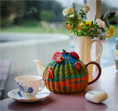 Tea cosy. (David M:) Tags: food teapot cup saucer flowers pebble green red orange teal blue earl grey