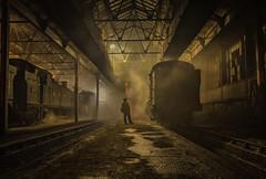 Steam on shed (Nimbus20) Tags: tle didcot photoshoot steam smoke greatwestern night train light atmosphere tankengine nostalgia