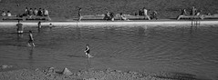Sunday in Spring (OzzRod) Tags: pentax k1 hdpentaxdfa28105mmf3556 monochrome blackandwhite wide recreation sunbaking paddling sandcastle pool oceanbaths spring merewether dailyinnovember2017