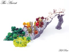 The Ascent (12 of 12) (Emil Lidé) Tags: lego moc the ascent microscale landscape mountain tree path fence seasons