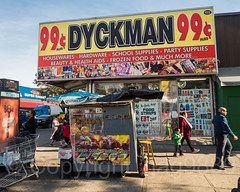 Dyckman Street Scape, Inwood, New York City (jag9889) Tags: 2017 20171103 99cents architecture banner building dyckmanstreet food house inwood inwoodite manhattan ny nyc newyork newyorkcity outdoor people sidewalk sign signboard sky store street streetscene text usa unitedstates unitedstatesofamerica uppermanhattan vendor wahi jag9889