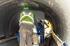 @20171121--D9 Maint-172 (OhioDOT) Tags: 9 district odot backhoe concrete culvert limestone pipe truck water workers
