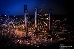 4 Soupapes (yannickmeh) Tags: soupape lumiere light lightpainting etincelles bleu couleur steel longueexposition longexposure graphique