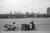 Saigon skyline (kuuan) Tags: omzuikoautowf2824mm om olympus 24mm f28 mf manualfocus saigon hcmc vietnam street ilce7 architecture new skyline district1 bw