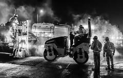 A412 roadworks 2014 {Year 2017} (jerry_lake) Tags: 24thnov2017 a412 bw d4 nikon50mmf14 nikond4 atmosphere hottarmac nightshot roadworks roller steam bomagbw135ad wwwsscsaunderssurfacingcouk
