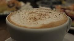 Good Morning! (theflyingtoaster14) Tags: good morning guten morgen break pause coffee kaffee sugar zucker schlagobers whipped cream brown muskat zimt mehlspeise bokeh fujifilm x10 fuji exr