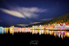 ~ Bryggen ~ (Chirag Khatri) Tags: nikond850 nikon d850 tamron tamron1530 norway norge norway2day mittnorge bergen bryggen deck long exposure longexposure sky night stars blue colorful nature landscape cityscape sea clouds water