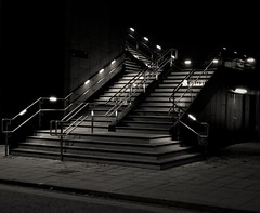 Stairwell To Heaven. Lincoln. Dec 2017 (Simon W. Photography) Tags: lincoln lincolnshire street candid streetphotography streetphoto streetphotographer photography streetstyle urban perspective pointofview lowpov pov depthoffield dof december december2017 winter winter2017 night nighttime nightscene nightimages nightphotography nightshot nightshooters blackandwhite blackwhite monochrome monotone greyscale grayscale bw bnw sepia simonhx100v sonydschx100v sonyhx100v hx100v