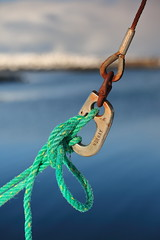 Hovsund fishing port-shackles and green rope. Vagan kommune-Gimsoya island-Lofoten-Norway. 0594 (rweisswald) Tags: metal burnished polished iron rusty oxidized piece shackle gyve ushaped loop rope cord line string twine yarn pile fiber twisted braided boatingknot tied rigging fishinggear fishingboat commercialfishing steelboat watercraft port harbor bay fjord shiphull boatdeck bow stern starboard shore coast seaside winter hov hovsund hovsvika vagankommune gimsoya lofoten nordlandfylke norway