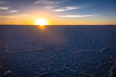 Beauty sunset on the salt flats.