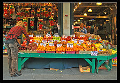 Fresh Fruit and Peppers - Pike Place Market, Seattle (sjb4photos) Tags: washington seattle pikeplacemarket freshfruit redhotchilipeppers chilipeppers
