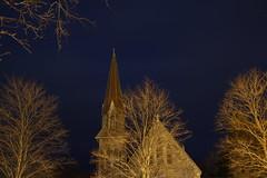 Diametric (jonaskey) Tags: church trees night sodium sky cloud blue gold longexposure
