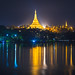 Shwedagon Pagoda at night, Yangon Myanmar