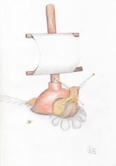 Plunger monster 2 (Klaas van den Burg) Tags: humor absurd surrealism monster snail sail pencils color
