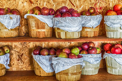 Baskets of Apples (gabi-h) Tags: apples harvest bushels farmstand autumn princeedwardcounty gabih waupoos creasysappledabble red green fruit