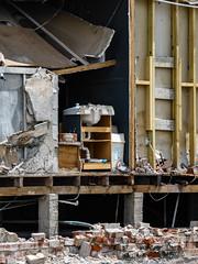 Christchurch Un-Plumbed (Steve Taylor (Photography)) Tags: sink plumbing bin framework piles architecture building demolition earthquake 22february2011 broken cracked damage quake smashed brick newzealand nz southisland canterbury christchurch cbd city beam batten board ceiling wall