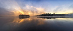 Have a good Canadian Morning (mystero233) Tags: canada ontario muskoka lakes lake water calm reflection morning sunrise dawn fog clouds mist yellow colour landscape panoramatic pano blue tree island forest north america sun outdoor nature relax silent
