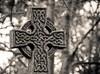 Celtic Cross (Karen_Chappell) Tags: bw cross cemetery stjohns blackandwhite graveyard newfoundland nfld canada atlanticcanada avalonpeninsula bokeh trees celtic stone granite headstone grave