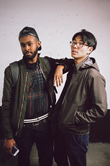 Shem & Sean (skeletormccaig) Tags: 35mm film analog 35mmfilm kodak portra portra400 canonet canonet28 canon 40mm 40mmlens oldfashion vinatge shooting gang friends party portrait male cat weed dude dudes apartment indoor outdoor filmlook sean max sharmarke toronto ontario animal