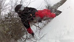 Tangled with a tree (rachael242) Tags: 7dwf crazytuesdaytheme becareful snowboard snowboarding winter snow snowing ice cold freeze froze fall accicent hurt board tabgled tree wood forest sport season seasonal snowflakes canada accident