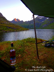 'The Real Life' (liamearth) Tags: earth loch lake shore sky clouds mountain trees fog sceneic wind ripple wilderness beautiful sea view outdoor water grass western landscape wild snow lofoten norway arctic circle traveling fishing tent whiskey scapa moskenesøya å a real life camping