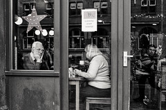 Lost in thought (Mr.White@66) Tags: monochrome blackandwhite biancoenero noiretblanc schwarzweiss cafe candid fujifilm fujifilmx100f streetphotography amsterdam urban people