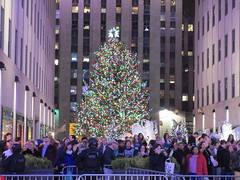 2017 Christmas Tree Rockefeller Center NYC 4473 (Brechtbug) Tags: 2017 christmas tree rockefeller center after lighting 12022017 nyc 30 rock new york city standing up above ice rink with snow shoveling workers skating holiday decoration ornaments night lights lites light oversize load ornament prometheus gold mythological statue sculpture fountain fountains post thanksgiving