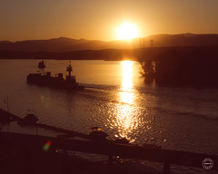 View of the Hudson (brianloganphoto) Tags: lighthouse athens hudsonriver ship newyork sunset mountian water reflection tugboat hudson boats vacation barge ny hudsonvalley unitedstates us