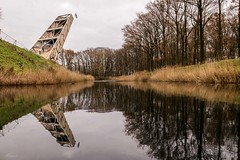 Constuction of  watchtower Pompejus (Mariannevanderwesten) Tags: reflection reflectie watchtower uitkijktoren fortroovere nature natuur water nikon