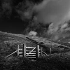 Gate by Durdle Door (www.davidrosenphotography.com) Tags: gate landscape dorset clouds storms grass travel coastline durdledoor