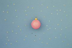 Pink Christmas ball on blue background (OlliUlli) Tags: christmas ball stars minimal blue holiday background sequins pink gold new year greeting card night sky concept retro light shining abstract yellow conceptual symbol flat lay top view copy space decoration winter xmas