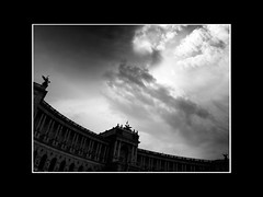 ride of the valkyries (vfrgk) Tags: sky cloudysky cloudporn cloudscape clouds architecture artistic statue dramatic vienna wien imperial palace hofburg monochrome blackandwhite bnw bw building
