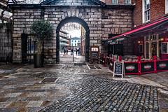 CHEZ MAX [A RESTAURANT LOCATED ON THE SHORTEST STREET IN DUBLIN]-134006 (infomatique) Tags: chezmax dublinrestaurant shorteststreet palacestreet entrance gate dublincastle damestreet damelane williammurphy infomatique fotonique streetphotography ireland