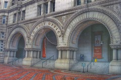 Trump International Hotel - Formerly Old Post Office  ~  Original Arches Entrance  -  Washington DC (Onasill ~ Bill Badzo) Tags: trump president usa america international hotel exterior statue franklin architecture romanesque formerly adaptive reuse land mar nrhp historic federal triangle washington dc style onasill old vintage photo preservation white elephant atrium luxury arches entrance unitedstates