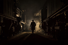 The foreman approaches (Nimbus20) Tags: didcot tle charter steam locomotives atmosphere western oxfordshire smoke night dark