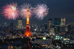 Fireworks celebrating over Tokyo cityscape at night, Tokyo Japan (Patrick Foto ;)) Tags: 2017 2018 aerial architecture asia beautiful beauty building business celebrating city cityscape concept copyspace destination dusk evening event famous festival firework fireworks japan japanese landmark landscape light modern new night outdoor place scene scenery sky skyline style summer tokyo tourism tower tradition travel twilight urban view year minatoku tōkyōto jp