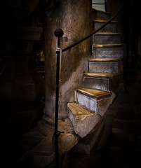 San Pietro Somaldi, Lucca (Daveyal_photostream) Tags: stairs meandmygear mygearandme mycamerabag nikon nikor church d600 stairway vignette column handrail rope dark spiralstairs photoshop lightroom edit soniagallery scale italy igitaly iglucca travel vacation chutchstairs